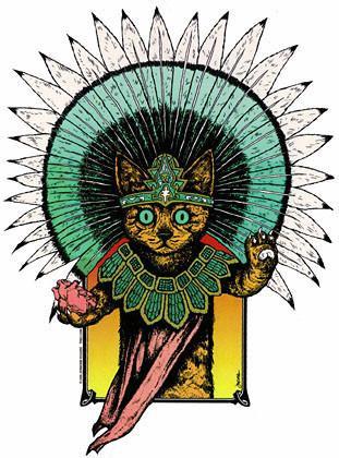 Mayan Turquoise Aztec Cat Sticker