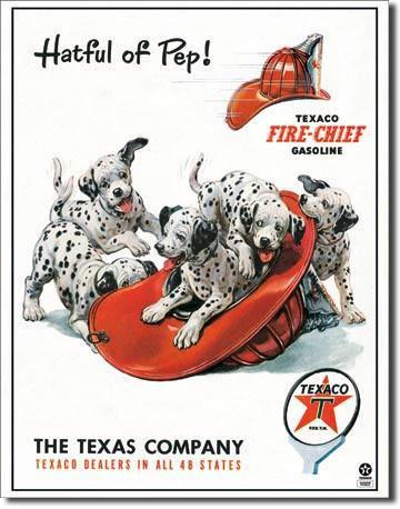 Texaco Fire-Chief Fire Dog Tin Sign