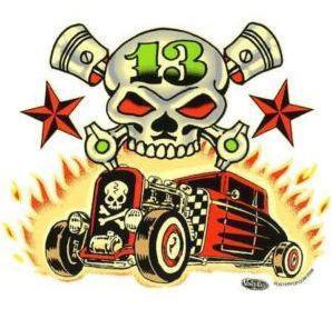 Skulls and Rods Hot Rod Sticker