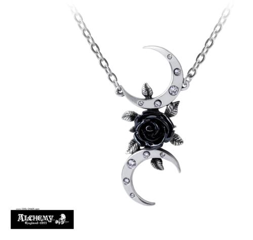 Black Rose Crescent Moon Necklace / Pewter Pendant