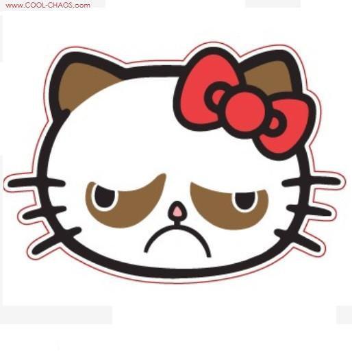 Hello Kitty Cat Grumpy Cat Sticker - Size 4.5 inches