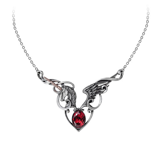 Pewter Unicorn Wings Red Crystal Gothic Romance Necklace by Alchemy Gothic 1977