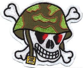 Army Camo Helmet Skull n Bones Patch