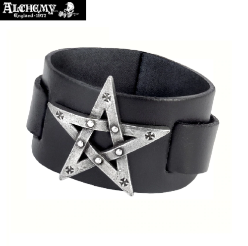 Pewter Pentagram Leather Bracelet Wriststrap - Alchemy Gothic 1977 Metalware