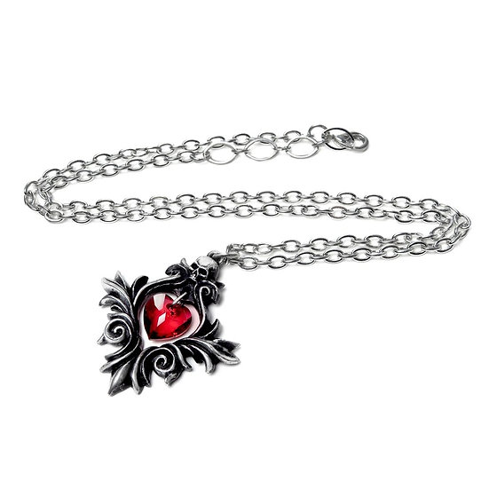 Pewter Skull Heart Red Crystal Heart Necklace by Alchemy Gothic 1977