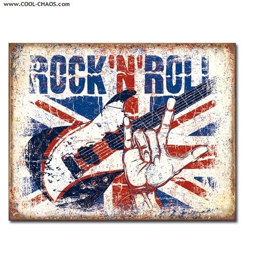 Devil's Horn Rock N Roll British Invasion Tin Sign