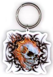 Black Tribal Ink Flaming Skull Keychain