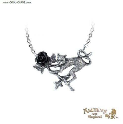 Black Rose Cat Necklace / Pewter Feline Pendant,New Alchemy Gothic 1977 Jewelry