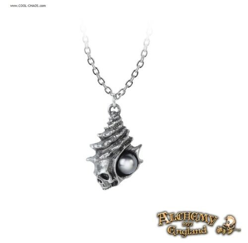 Pewter Seashell Skull The Black Pearl Gothic Necklace