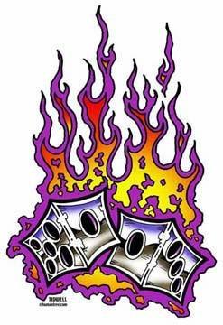 Retro Tattoo Flaming Dice Sticker