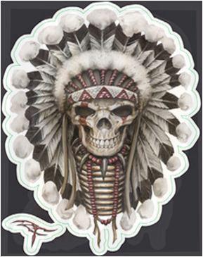 Mini Tribal Indian Chief Skull Sticker