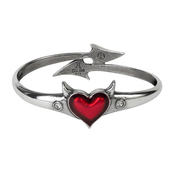 Devil Heart Pewter Bangle Bracelet -Red Heart Cuff Bracelet Small