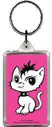 Pink Rock Kitty Keychain