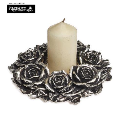 Blackish Rose Candle Wreath Holder Halloween Decoration