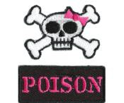 Mini Poison Girly Skull Patches-2 pack Set