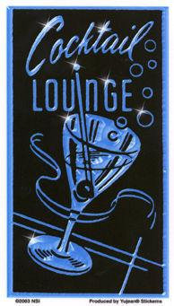 Cocktail Lounge Sign Sticker