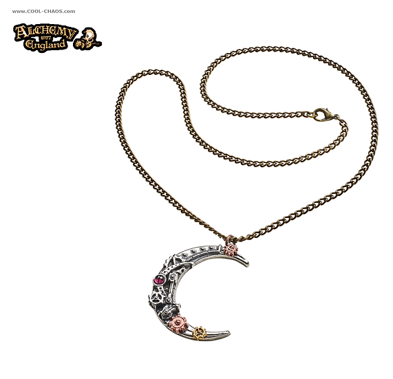 Victorian Steampunk Moon Necklace - Crescent,Gears,Pewter,Alchemy Gothic 1977