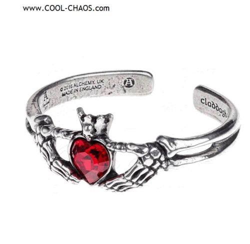 Gothic Romance Red Heart Claddagh Bracelet / Alchemy Gothic 1977,Valentine's Day