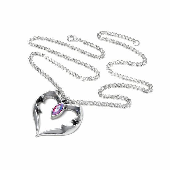 Teardrop Crystal Pewter Vampire Heart Necklace