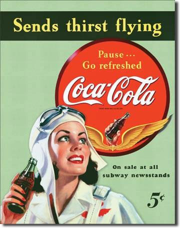 Sends Thirst Flying! Pin-up Girl Pilot Coca-Cola Sign