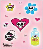 Gothic Pink Skull Cell Phone Stickers