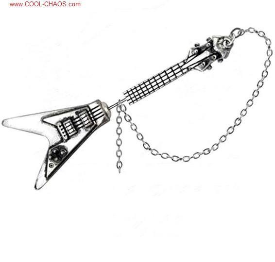 Impaled Pewter Flying V Guitar Earring (single earring)