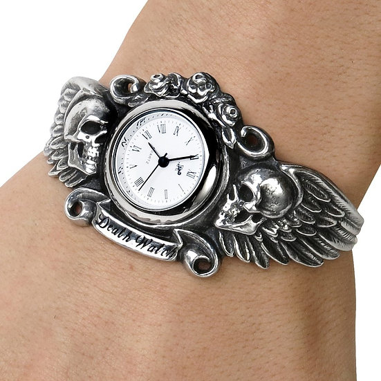 Death Watch / Pewter Winged Skulls Gothic Wristwatch