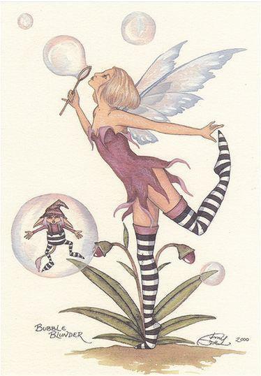 Amy Brown Fairy Art Postcard #8 Bubble Blunder Elf