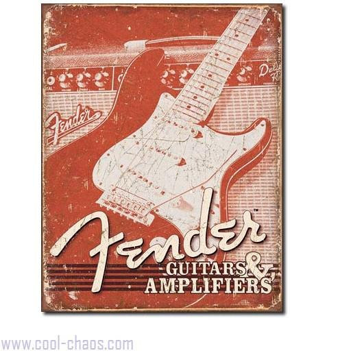 Distressed Retro Fender Guitar + Amplifiers Tin Sign
