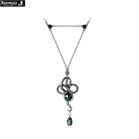 Triple Ring Pewter Serpent Black Crystal Necklace Pendant - Alchemy Gothic 1977