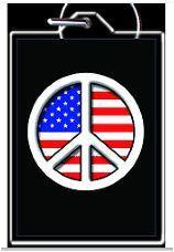USA Flag Peace Sign Keychain