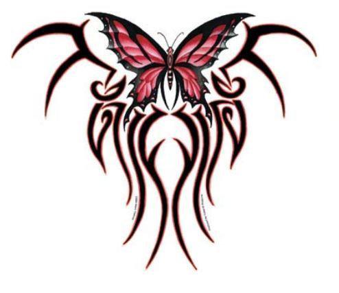 Red Tribal Butterfly Sticker - Large Window Sticker