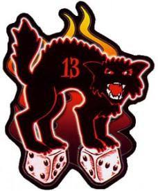 Rockabilly Black Cat Lucky 13 Sticker