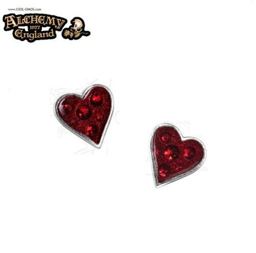 Pewter & Crystals Red Heart Earrings