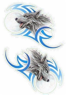 Mini Tribal Moon Wolf Stickers