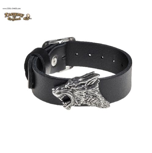 Fierce Warrior Wolf Wrist Strap / Pewter Wolf Bracelet,2019, Alchemy Gothic '77