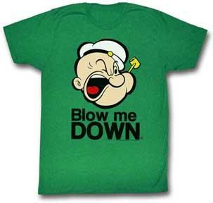 Popeye T-Shirt / Popeye 'Blow Me Down' Kelly Green Cartoon Tee