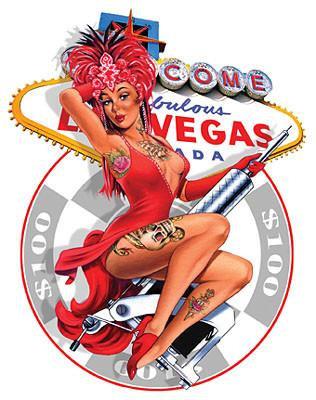 Sexy Retro-New Age Pin-up Vegas Tattoo Pin-up Sticker