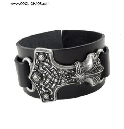 Pewter Thor Hammer Wrist Strap / Thick Black Leather Bracelet,Alchemy Gothic