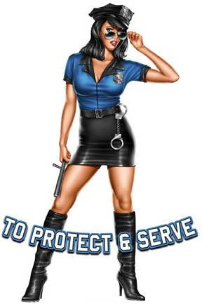 Hot Lady Cop Pin-up Girl Sticker