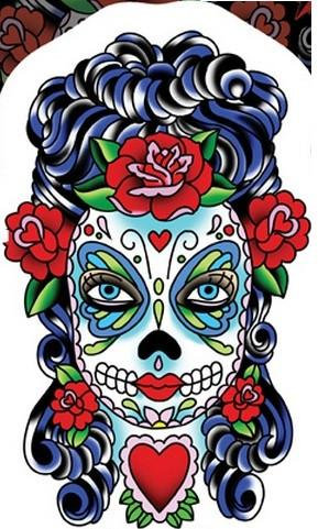 Lady Butterfly Sugar Skull Sticker