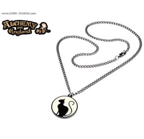 Moon Cat Necklace - Full Moon,Meow at the moon,Cat,Pewter, Alchemy Gothic 1977