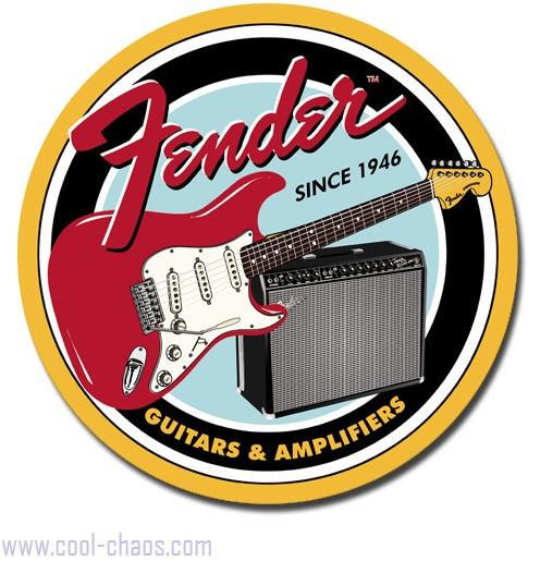 Round Fender Guitars Sign