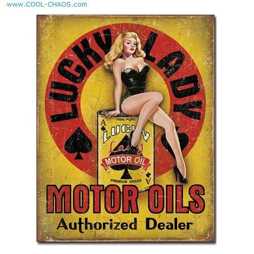 Lucky Lady Pin-up Girl Mechanics Garage Motor Oil Sign