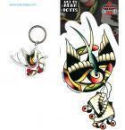 Roller Skates Swallow Heart Tattoo Keychain + Sticker Gift Set