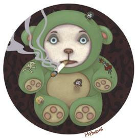 Smokin Teddy Bear Sticker Weird Art