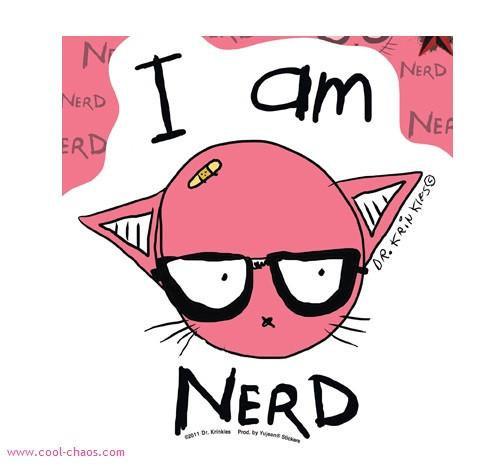 Pink Kitty Nerd Geek Sticker