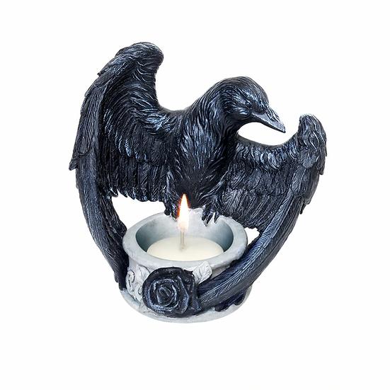 Black Rose Raven Tea Light Holder