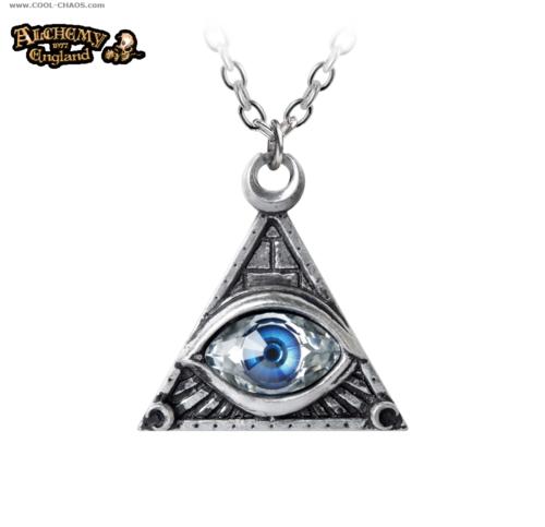 All Seeing Eye Necklace / Swarovski, Pewter Pendant by Alchemy Gothic 1977