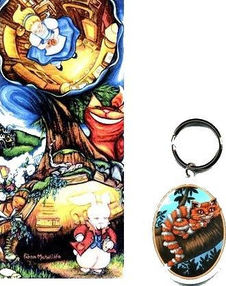 Alice in Wonderland Sticker - Cheshire Cat Keychain Set